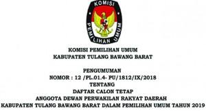 PENGUMUMAN DCT Anggota DPRD Kabupaten Tulangbawang Barat PEMILU 2019