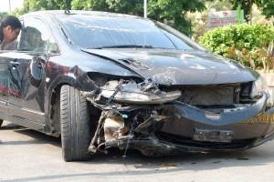 Honda Civic Pelajar SMA Unila Kecelakaan Di Teuku Umar