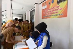 Ratusan Pejabat Eselon II Dan III Pemkot Metro Dites Urine