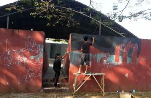 Mural Awali Pameran Lukis Akulturasi Di Lampung