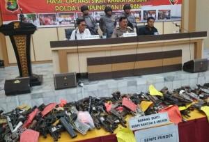 Polda Lampung Sita 216 Senjata Api Rakitan