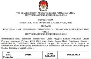 Seleksi KPU Lampung, Delapan Peserta Gugur