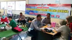 HUT Bhayangkara, Satlantas Gelar Donor Darah Di Tulangbawang