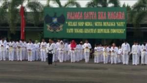 Ratusan Atlet Taekwondo Ujian Kenaikan Tingkat Di Makorem 043 Gatam