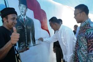 Dinding Stadion Bandungbaru Jadi Sarana Lomba Lukis Mural